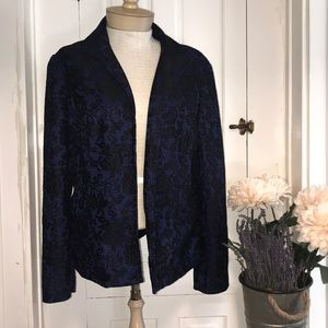Black and blue lace blazer